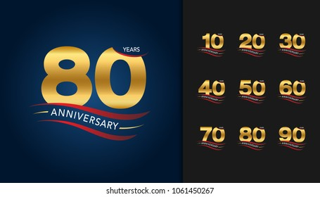 Set of anniversary logotype. Golden anniversary celebration emblem with ribbon design for booklet, leaflet, magazine, brochure poster, web, invitation or greeting card. Vector illustration.
