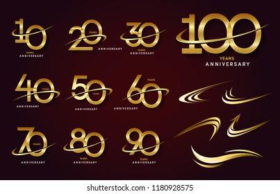 Set of anniversary logotype. Golden anniversary celebration emblem design for booklet, leaflet, magazine, brochure poster, web, invitation or greeting card. Vector illustration.