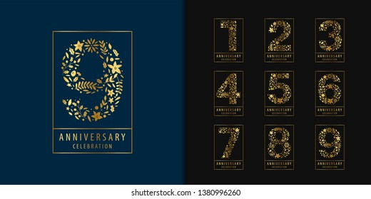 Set of anniversary logotype. Golden anniversary celebration with flower and leaves design for company profile, leaflet, magazine, brochure, invitation or greeting card. Vector illustration.