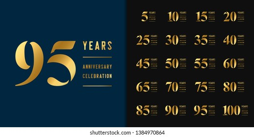 Set of anniversary logotype. Golden anniversary celebration emblem design for company profile, booklet, leaflet, magazine, brochure, web, invitation or greeting card. Vector illustration.