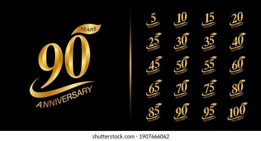 Set of anniversary logotype. Golden anniversary celebration emblem design. Vector illustration.