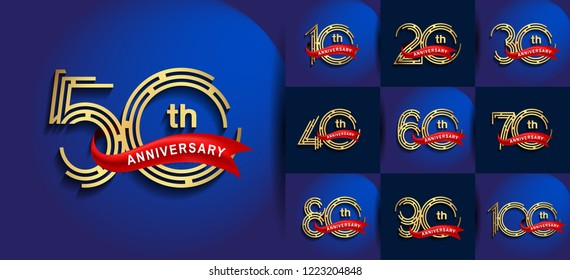 Set of Anniversary logotype golden color, anniversary design with red ribbon for booklet, leaflet,invitation card, magazine, poster, web, greeting card of celebration event