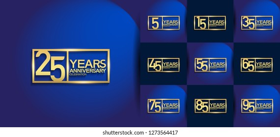 set of anniversary logotype golden color on square isolated on blue background for precious moment