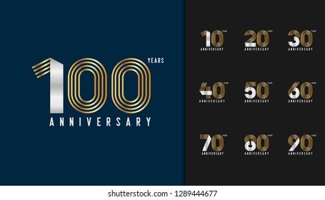 Set of anniversary logotype. Golden and silver anniversary celebration emblem design for company profile, booklet, leaflet, magazine, brochure, invitation or greeting card. Vector illustration.