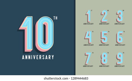 Set of anniversary logotype. Modern anniversary celebration with pastel color. Design for company profile, booklet, leaflet, magazine, brochure, invitation or greeting card. Vector illustration.