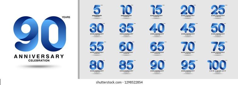 Set of anniversary logotype. Modern anniversary celebration icons. Design for company profile, booklet, leaflet, magazine, brochure, invitation or greeting card. Vector illustration.
