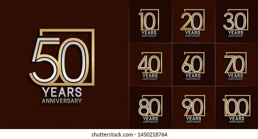 set of anniversary logotype with multiple line style silver and gold color for invitation, greeting card, precious moment, and celebration event