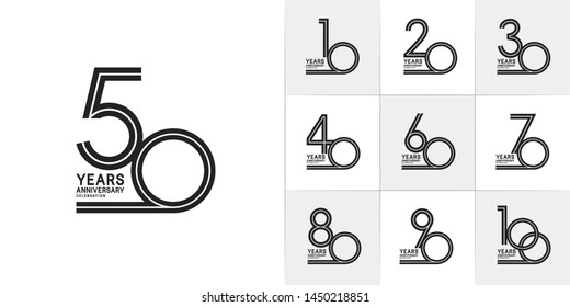 set of anniversary logotype with multiple line style black color for invitation, greeting card, precious moment, and celebration event