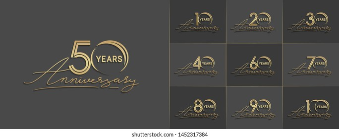 set of anniversary logotype with multiple line style gold color for celebration event, greeting card, invitation and wedding celebration