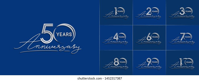 set of anniversary logotype with multiple line style silver color for celebration event, greeting card, invitation and wedding celebration
