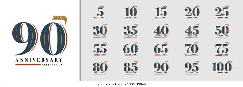 Set of anniversary logotype. Premium anniversary celebration emblem design for company profile, booklet, leaflet, magazine, brochure, invitation or greeting card. Vector illustration.