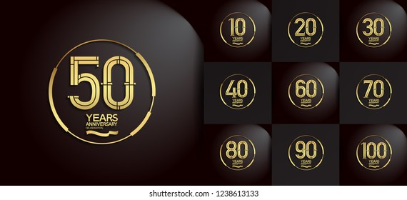 set of anniversary logotype with ring and ribbon golden color on black background for celebration event