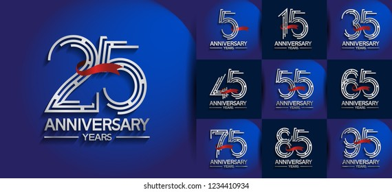 set of anniversary logotype silver color on blue background for company celebration