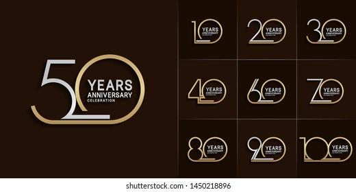 set of anniversary logotype with single line style silver and gold color for invitation, greeting card, precious moment, and celebration event