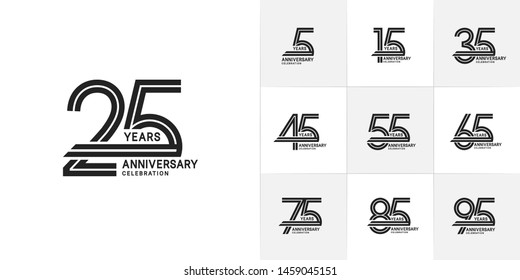 set of anniversary logotype style with black color for celebration event, wedding, greeting card, and invitation