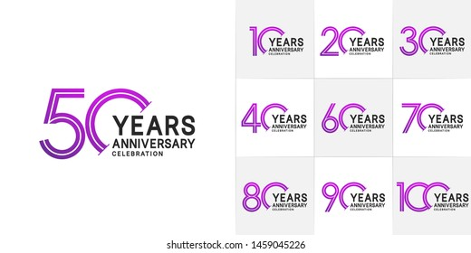 set of anniversary logotype style with black and violet color for celebration event, wedding, greeting card, and invitation