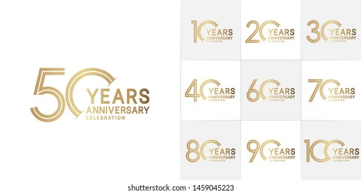 set of anniversary logotype style with golden color for celebration event, wedding, greeting card, and invitation
