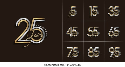 set of anniversary logotype style with handwriting silver and gold color for celebration event, wedding, greeting card, and invitation