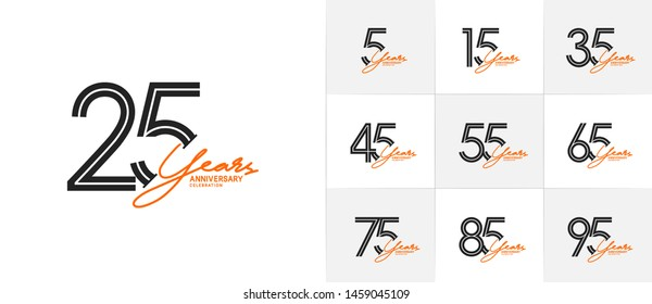 set of anniversary logotype style with handwriting black and orange color for celebration event, wedding, greeting card, and invitation