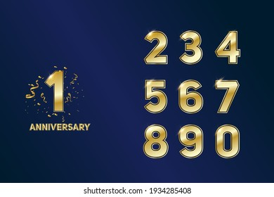 set of anniversary logotype style with handwriting golden color for the celebration event, wedding, greeting card, and invitation