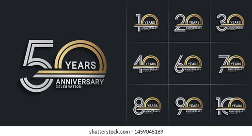 set of anniversary logotype style with silver and gold color for celebration event, wedding, greeting card, and invitation