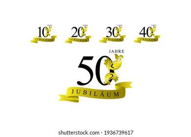 set anniversary ornament golden color