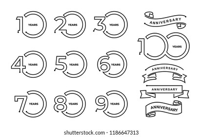 Set of anniversary pictogram icon 10, 20, 30, 40, 50, 60, 70, 80, 90, 100 Thin line minimal template years birthday logo label, black and white stamp. Vector illustration. Isolated on white background