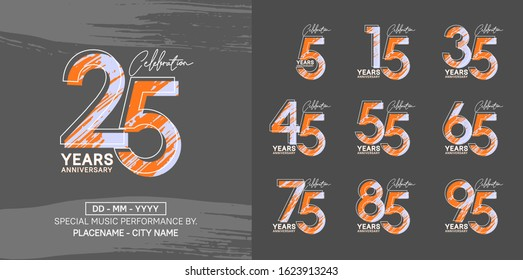 set of anniversary poster color style color for celebration event, wedding, greeting card, and invitation
