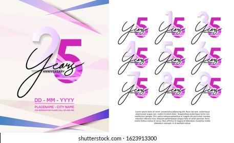 set of anniversary poster color style pink color for celebration event, wedding, greeting card, and invitation
