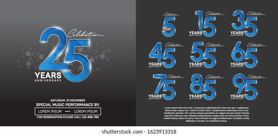 set of anniversary poster color style blue color for celebration event, wedding, greeting card, and invitation