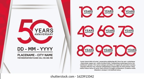 set of anniversary poster color style red color for celebration event, wedding, greeting card, and invitation
