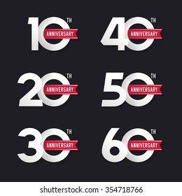 The set of anniversary signs from 10th to 60th. Stock vector illustration. Design elements.