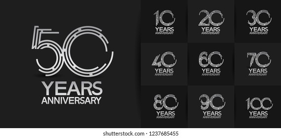 set of anniversary silver emblems on black background for celebration