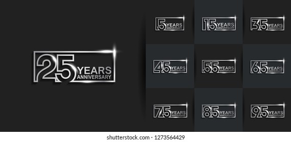 set of anniversary template silver color on black background for celebration
