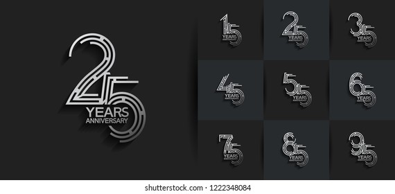 Set of Anniversary templates, anniversary design with labyrinth style number silver color for booklet, leaflet,invitation card, magazine, poster, web, greeting card of celebration event