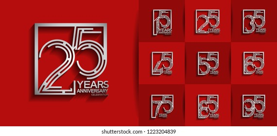 Set of Anniversary templates silver color, anniversary design with square  for booklet, leaflet,invitation card, magazine, poster, web, greeting card of celebration event