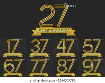 Set of Anniversary three gold stripe motif with ribbon, anniversary template design for web ,Creative poster, booklet, leaflet, flyer, magazine, invitation card
