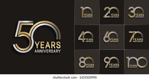 Set of Anniversary vector design with multiple line number silver and golden color for celebration event, invitation, greeting, web template, leaflet and booklet