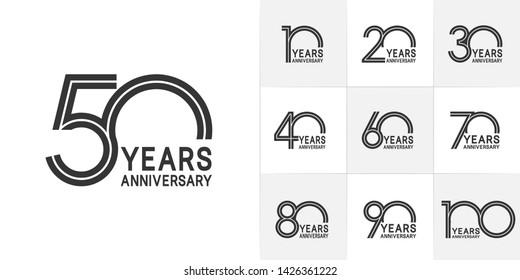 Set of Anniversary vector design with multiple line number black color for celebration event, invitation, greeting, web template, leaflet and booklet