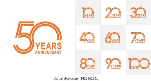 Set of Anniversary vector design with multiple line number orange color for celebration event, invitation, greeting, web template, leaflet and booklet