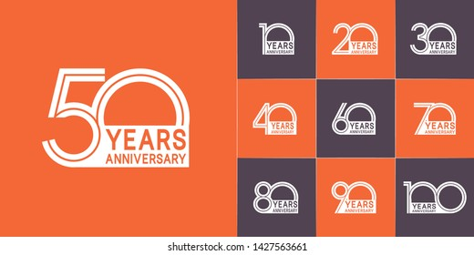Set of Anniversary vector design with multiple line number white color for celebration event, invitation, greeting, web template, leaflet and booklet