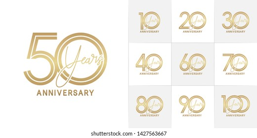 Set of Anniversary vector design with multiple line number golden color for celebration event, invitation, greeting, web template, leaflet and booklet