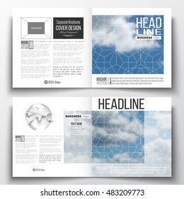 Set of annual report business templates for brochure, magazine, flyer or booklet. Beautiful blue sky, abstract geometric background with white clouds, leaflet cover, layout, vector illustration.