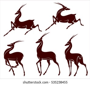 Set antelope image in an abstract style