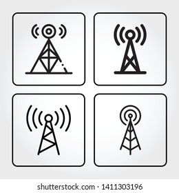 Set of antenna flat icons. Radio antenna wireless outline icons. Linear style sign for mobile concept and web design. Eps10 vector illustration.