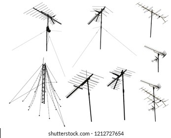 Set with antennas. Silhouettes of detailed antennas. Antennas in isometry. Vector illustration.