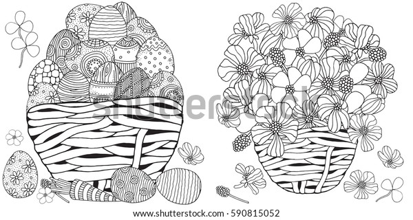 Set Anti Stress Coloring Book Pages Stock Vector Royalty Free 590815052