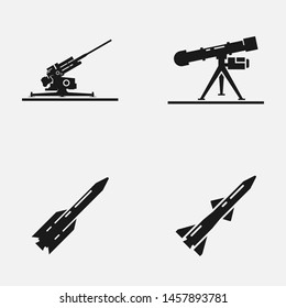 Set of anti-aircraft and anti-tank missile black and white vector icon.