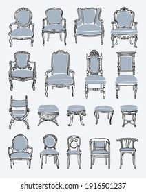 A set of antique chairs, armchairs and stools. Stock vector illustration.