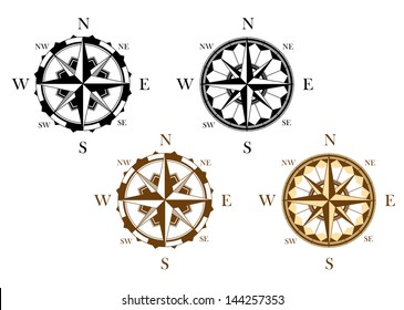 Set of antique compasses set for design isolated on white background or idea of logo. Jpeg version also available in gallery